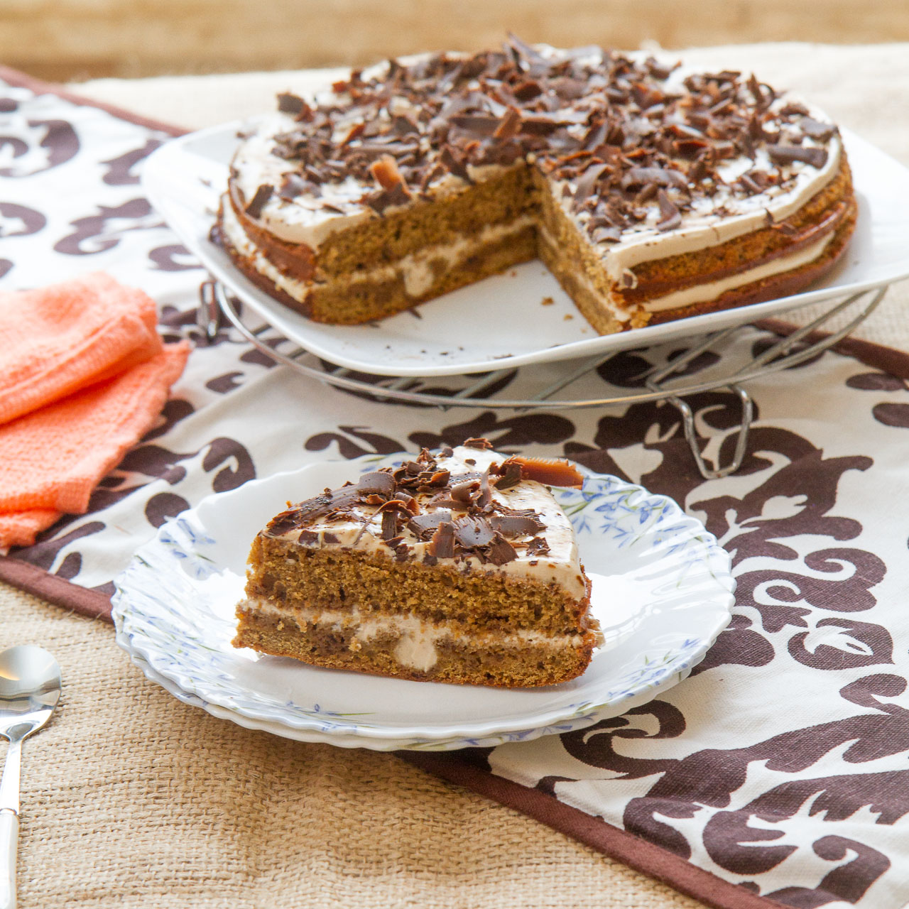 Double layered instant coffee cake | Sizzle and Drizzle