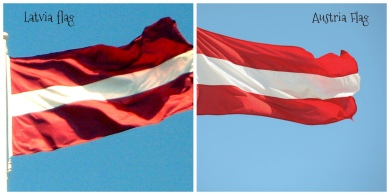 Latvia and Austria flag