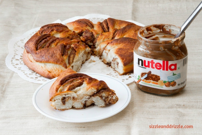 A piece of Nutella bread
