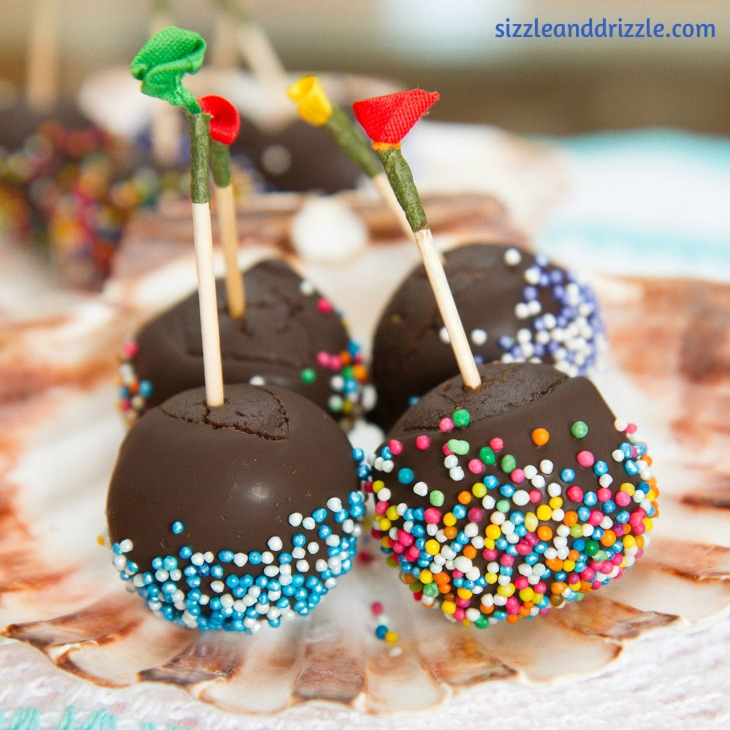 cake pops on a shell