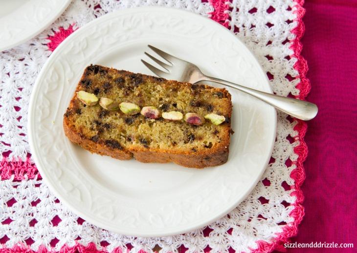 close up of pistachio cake