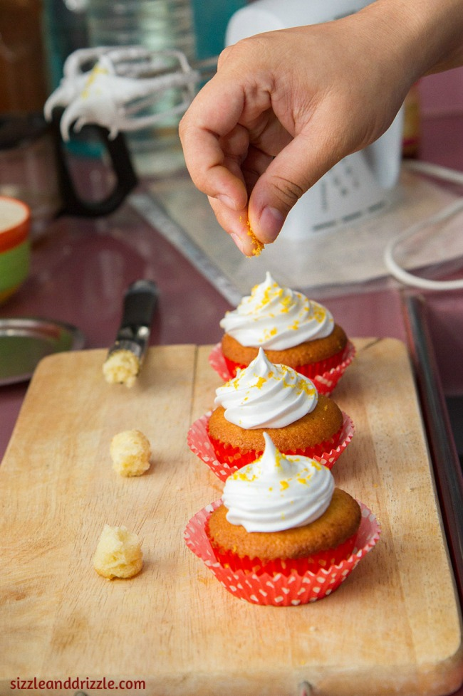 Coring and frosting the cupcakes