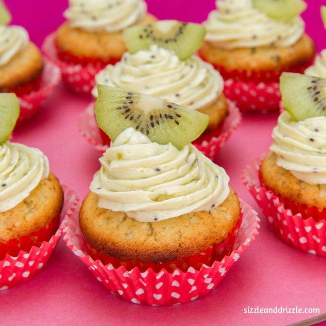 Kiwi cupcake closeup