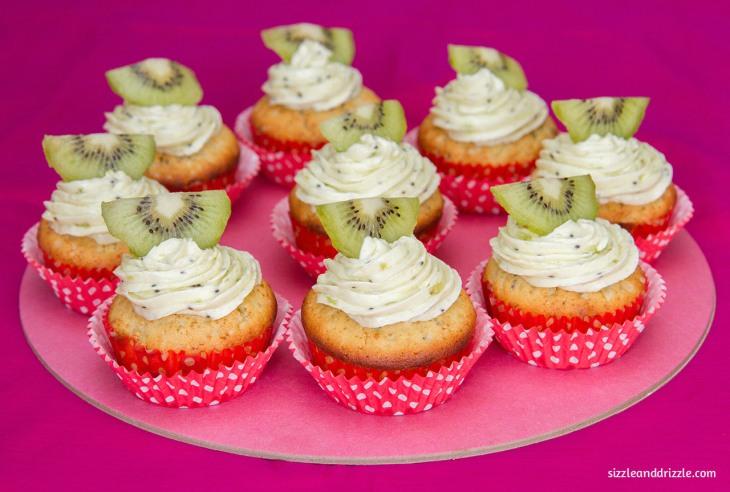 Kiwi cupcake platter