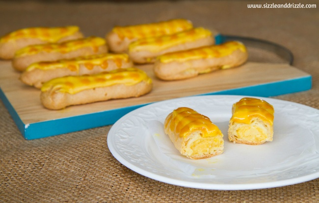 Filled mango eclairs