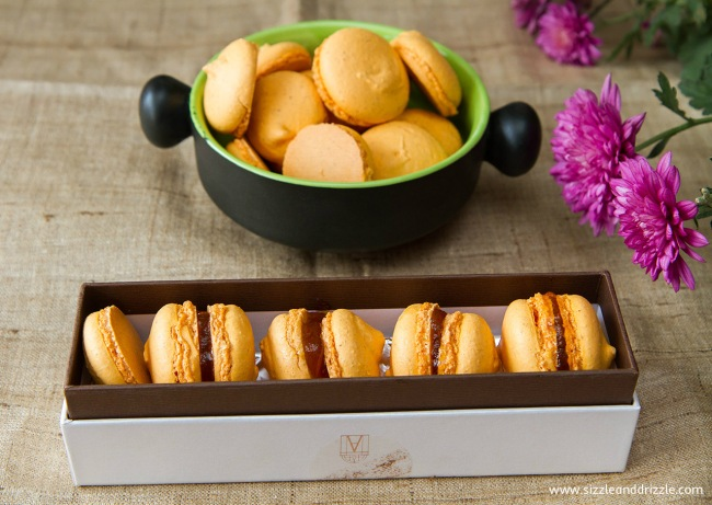 Mango macarons in a box