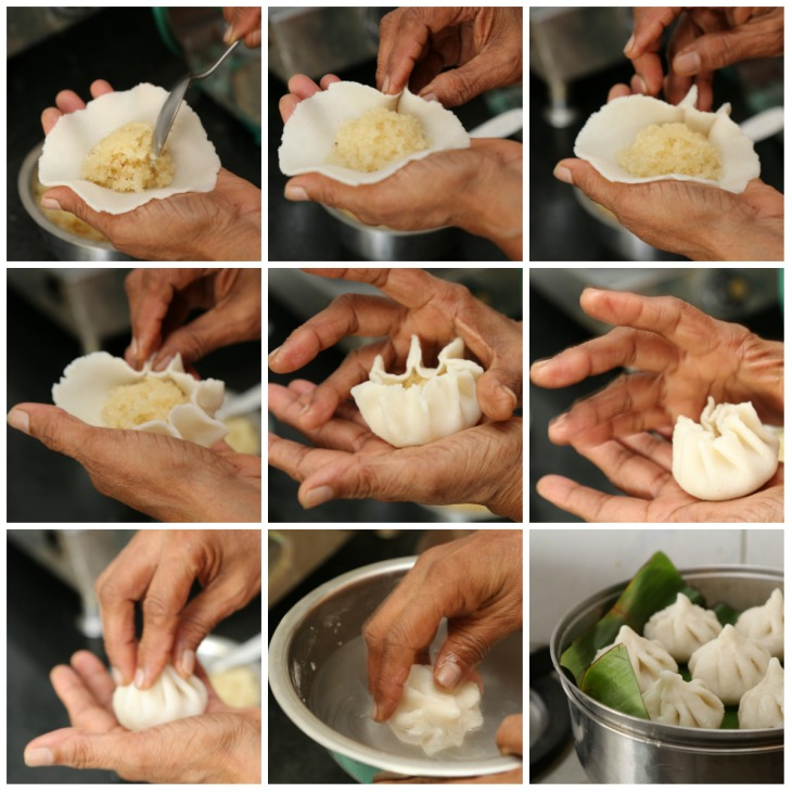 Shaping a steamed modak