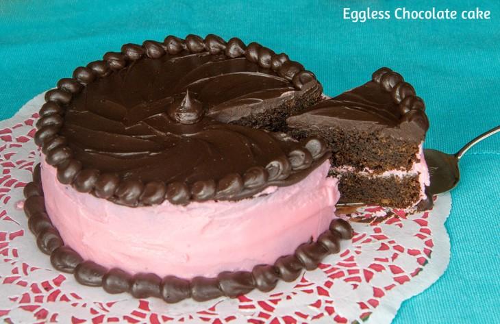 Eggless ginger chocolate cake