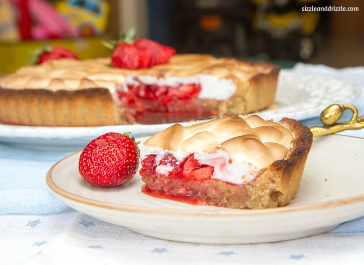Strawberry meringue tart