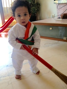 Arjun with a broom