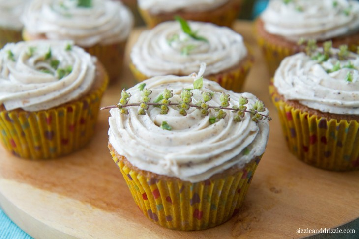 Chai cupcakes with basil flowers