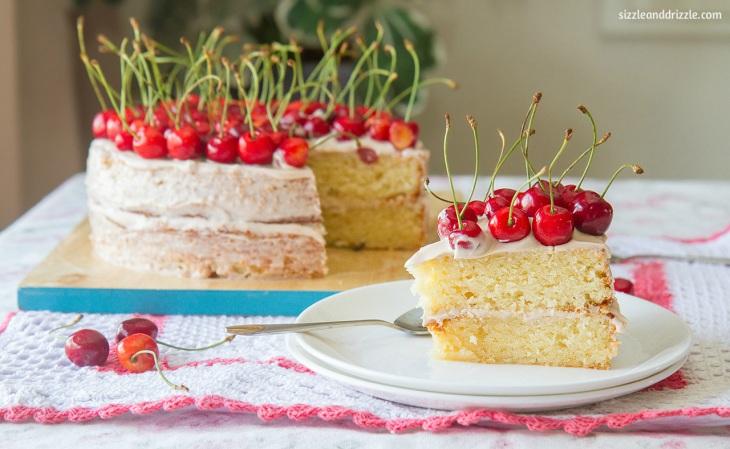 Cherry pound cake slice