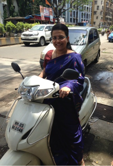 Rutvika on a scooter