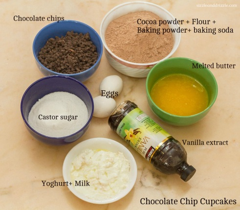 Ingredients for chocolate cupcakes