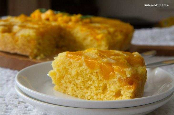 Mango cake with slice