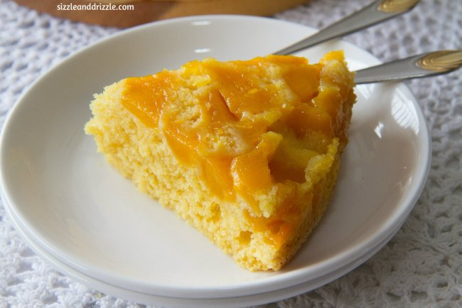 Slice of mango cake