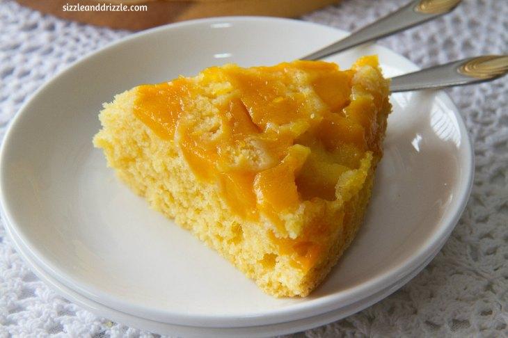 Slice of mango cake
